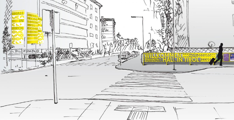 Eva Plass: <strong>Hall in Tirol</strong><br> – Signaletik Konzept Fußgängerleitsystem / 2015
