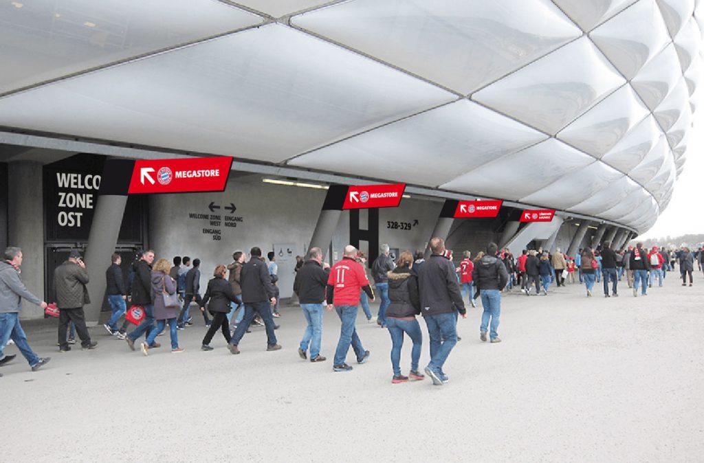 Eva Plass: Allianz Arena München – Wettbewerb Orientierungs- und Leitsystem 2. Platz / mit Integral Ruedi Baur Zürich / 2016